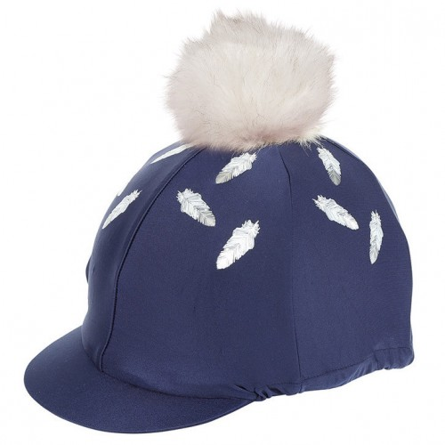Navy Feathers & Faux Fur Pom Lycra Hat Cover