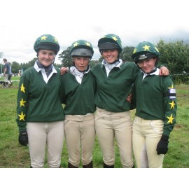 The Fitzwilliam Hunt Pony Club in team rugby shirts.