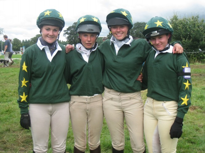 The Fitzwilliam Hunt Pony Club in Rugby shirts and hat silks.