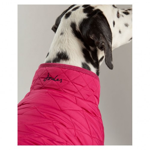 Joules Raspberry Quilted Dog Coat image #