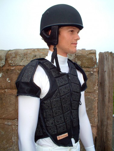 Racesafe Jockey Vest and shoulder pads with jockey polo shirt