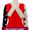 Red with navy and white sleeves with alternating stars