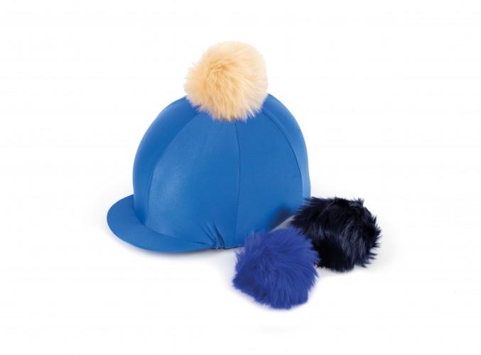 Royal Blue Lycra Cap with Interchangeable Faux Poms