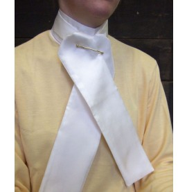 A Pale Cream Silk Stock worn with a yellow ladies stock shirt.