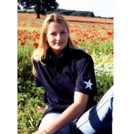 Sophie in a unisex cut dark blue shirt with embroidered white star.
