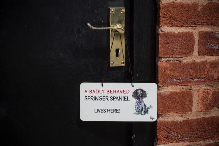 A Badly Behaved Springer Spaniel Lives Here