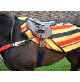 Witney Stripe Wool Sheet shown with a red breastgirth and a fleece Exercise Girth Sleeve