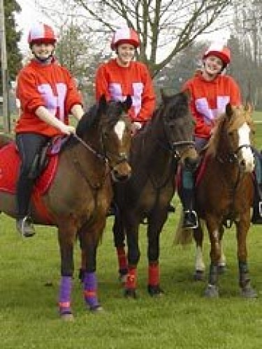 Hereford & Worcester Mounted Games team Hereford and Worcester Mounted Games team in red and mauve bespoke sweatshirts and matching lycra caps