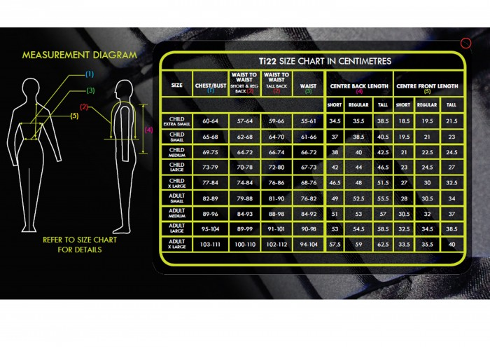 Champion Ti22 Body Protector size chart