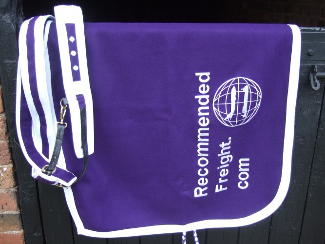 Purple with white trim and embroidery Superior Melton Paddock sheet.
