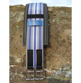 Grey, White and Blue Point to Point Girth being show with the Racing Girth Sleeve.